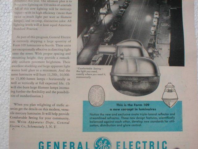 Lighting-Gallery-net - Joe's Pictures/GE Form 109 Advertisement 1949
