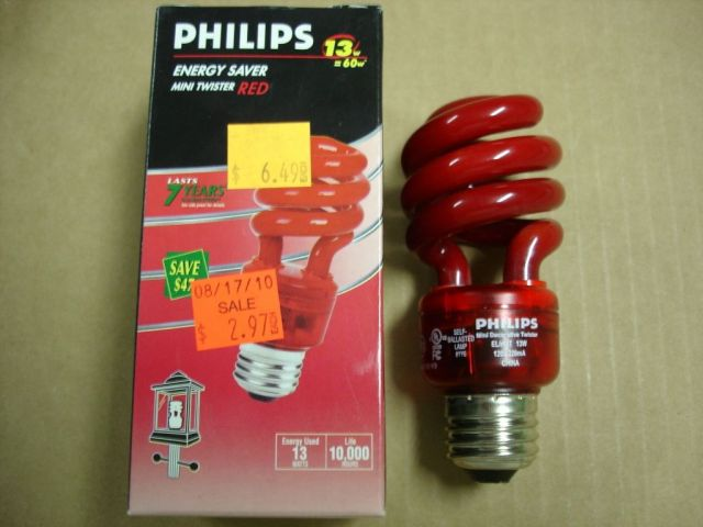 Here S A Philips 13w Mini Twister Red Compact Fluorescent Lamp