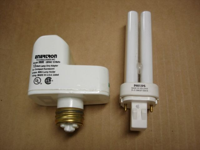 Here is a Enertron 3800 15W adapter for 13W PL-C quad-tube l&s.This adapter came with a Philips PL-C 13W warm white l& made in Holland. & Lighting-Gallery-net - Fluorescent Lamps (CFL)/Enertron 3800 Adapter azcodes.com