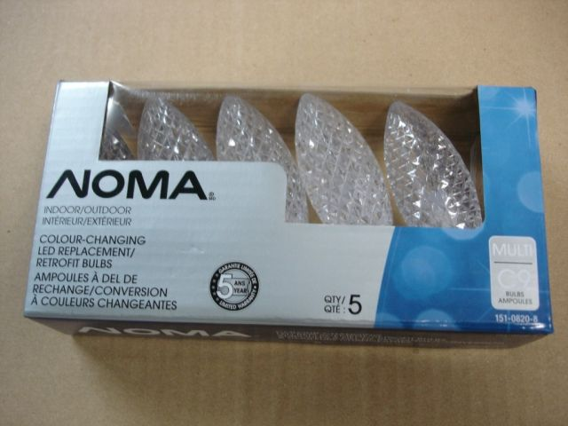 a 5 pack of noma c9 led indooroutdoor retrofit christmas light bulbsthese are colour changing with 5 different colours
