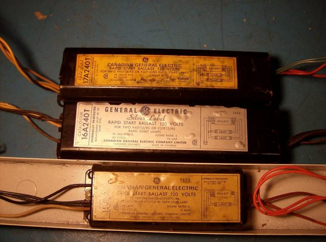 Old Fluorescent Ballasts From The 50s 60s And 70s Electrician. Let's Begin By These Three They've Been Made From Top To Bottom In 1971 1962 And 1967 The Only Working One Is Little. Wiring. General Electric Ballast Wiring Diagram 240 At Scoala.co