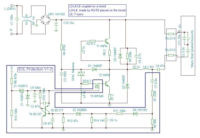 Electronic Ballast Schematic Click Image For Larger View
